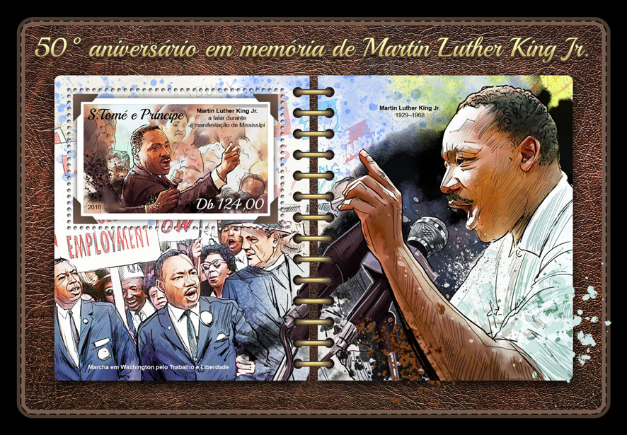 Martin Luther King Jr. - Issue of Sao Tome and Principe postage stamps