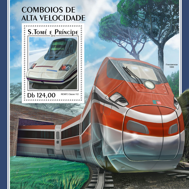 Speed trains - Issue of Sao Tome and Principe postage stamps