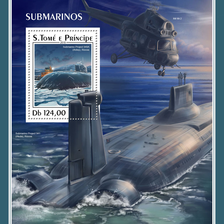 Submarines - Issue of Sao Tome and Principe postage stamps