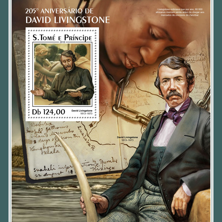 David Livingstone - Issue of Sao Tome and Principe postage stamps