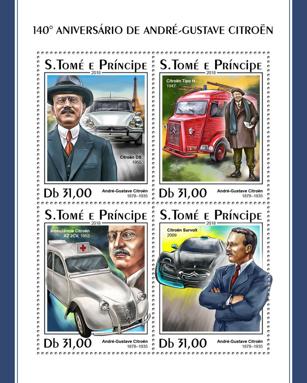Andre-Gustave Citroen - Issue of Sao Tome and Principe postage stamps