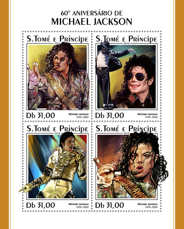 Michael Jackson - Issue of Sao Tome and Principe postage stamps