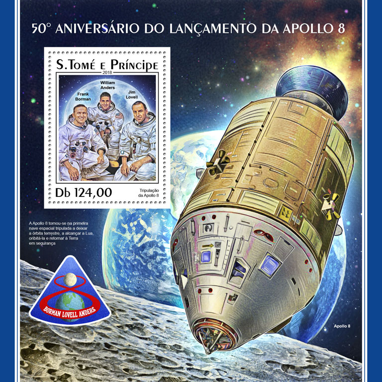 Apollo 8 - Issue of Sao Tome and Principe postage stamps