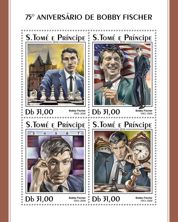 Bobby Fischer - Issue of Sao Tome and Principe postage stamps
