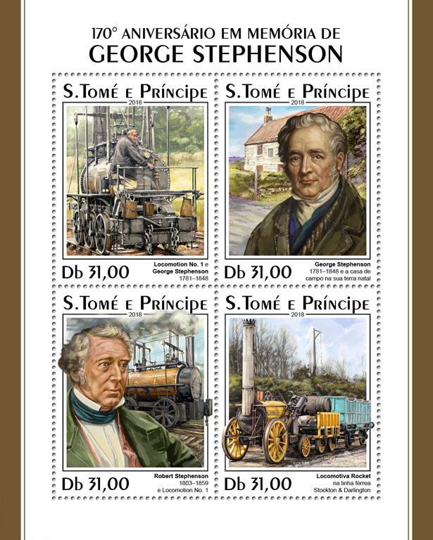 George Stephenson - Issue of Sao Tome and Principe postage stamps