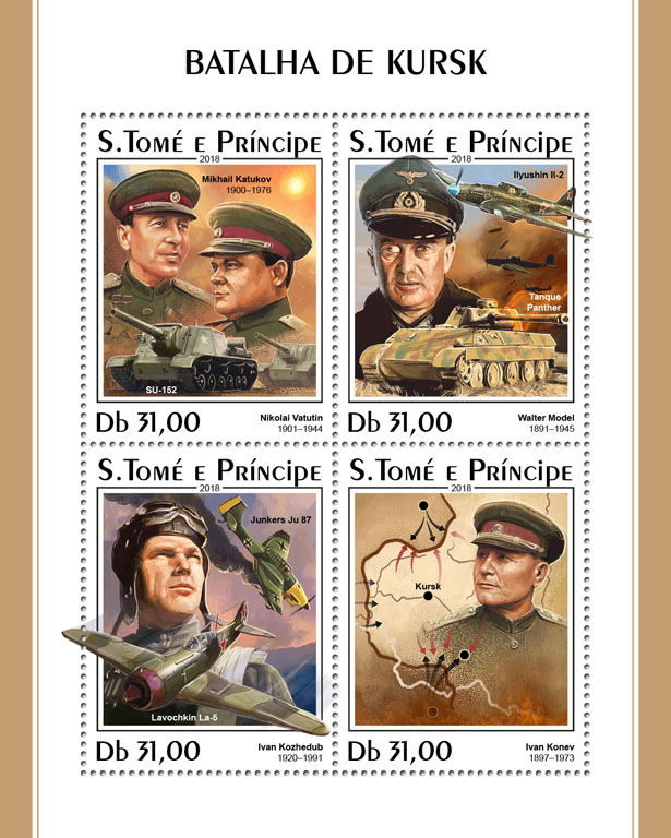 Battle of Kursk - Issue of Sao Tome and Principe postage stamps