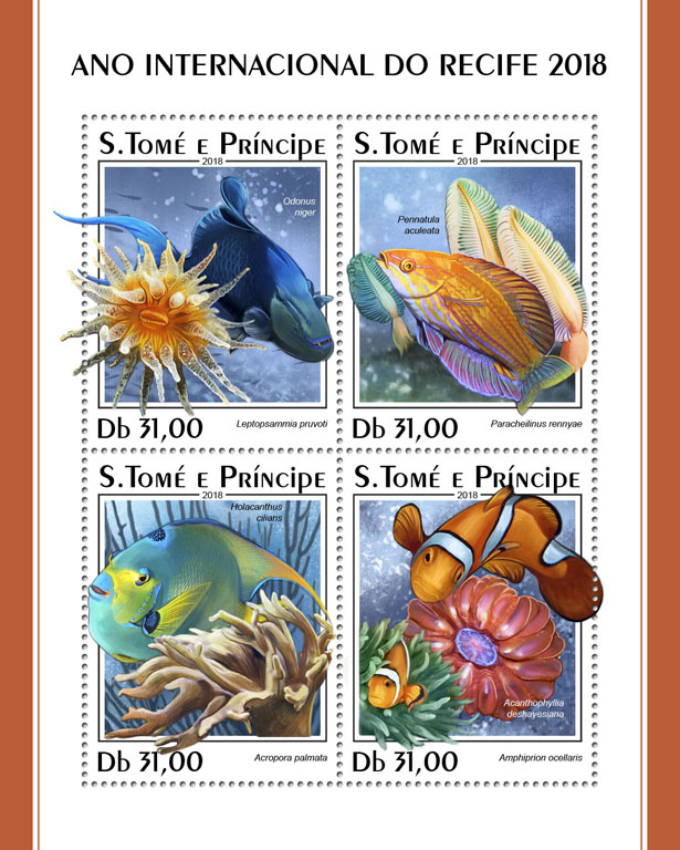 Year of the Reef 2018 - Issue of Sao Tome and Principe postage stamps