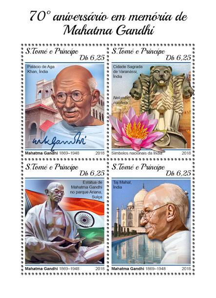 Mahatma Gandhi - Issue of Sao Tome and Principe postage stamps