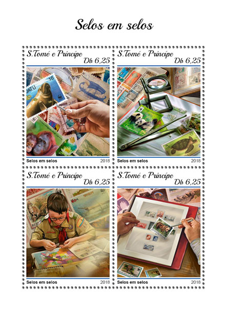 Stamps on stamps - Issue of Sao Tome and Principe postage stamps