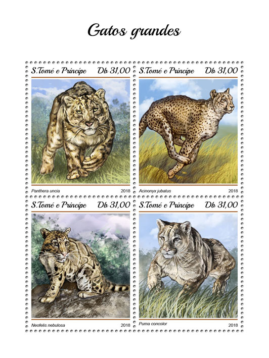 Big cats - Issue of Sao Tome and Principe postage stamps