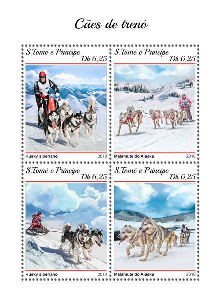 Sledge dogs - Issue of Sao Tome and Principe postage stamps