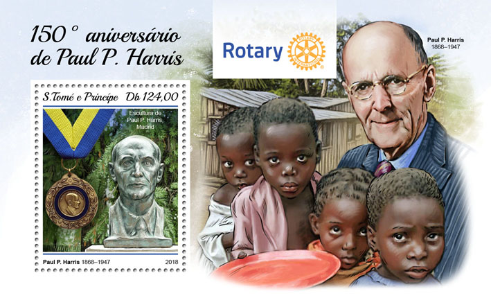 Paul P. Harris - Issue of Sao Tome and Principe postage stamps