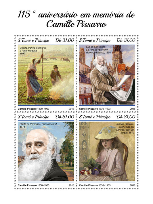 Camille Pissarro - Issue of Sao Tome and Principe postage stamps