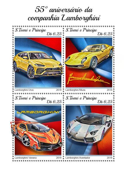 Lamborghini Company - Issue of Sao Tome and Principe postage stamps