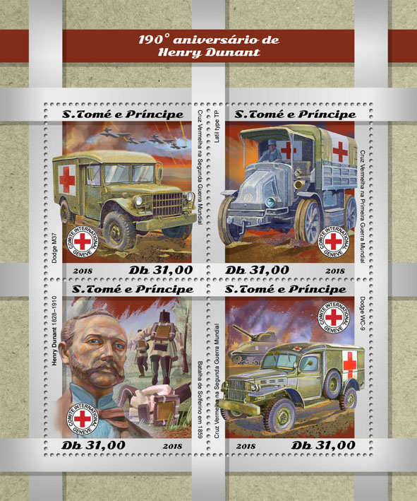 Henry Dunant - Issue of Sao Tome and Principe postage stamps