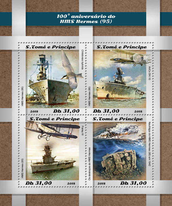 HMS Hermes - Issue of Sao Tome and Principe postage stamps