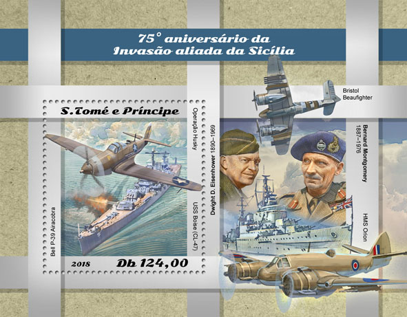 Allied invasion of Sicily - Issue of Sao Tome and Principe postage stamps