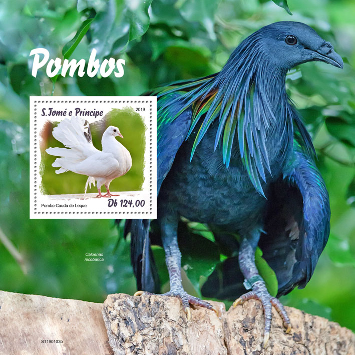 Pigeons - Issue of Sao Tome and Principe postage stamps