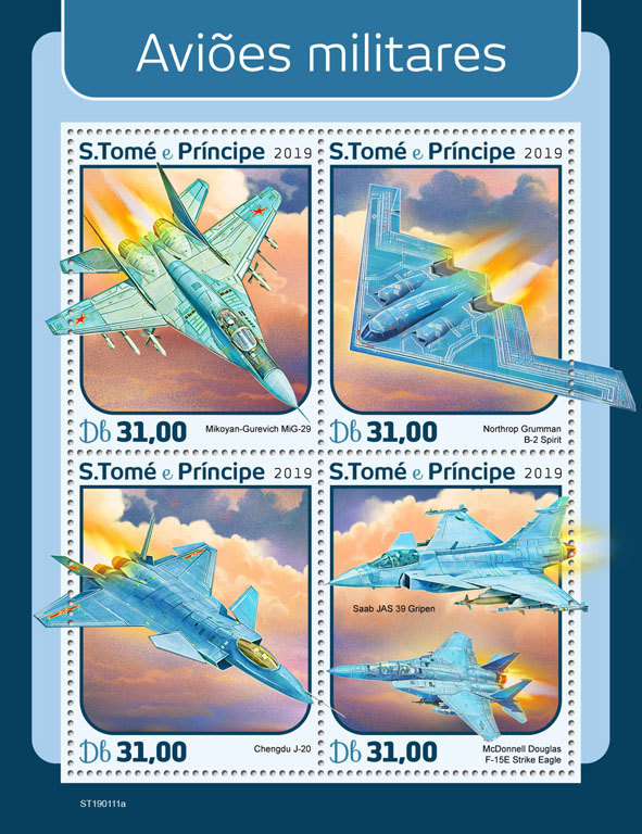 Military planes - Issue of Sao Tome and Principe postage stamps