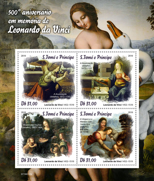 Leonardo da Vinci - Issue of Sao Tome and Principe postage stamps