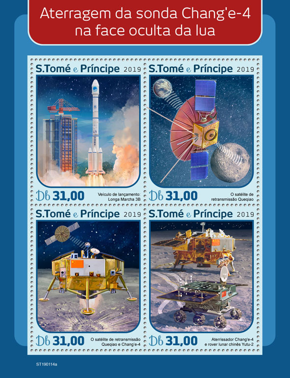 Chang'e 4 - Issue of Sao Tome and Principe postage stamps