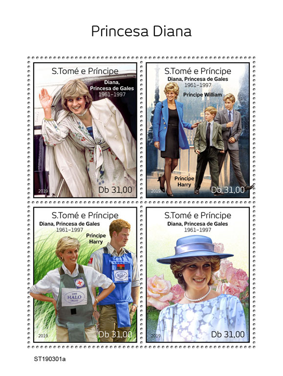 Princess Diana - Issue of Sao Tome and Principe postage stamps