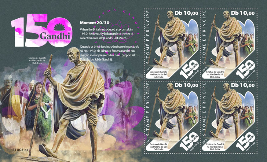 Mahatma Gandhi – III - Issue of Sao Tome and Principe postage stamps