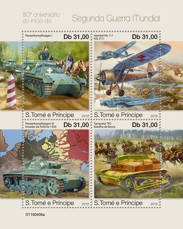 World War II - Issue of Sao Tome and Principe postage stamps