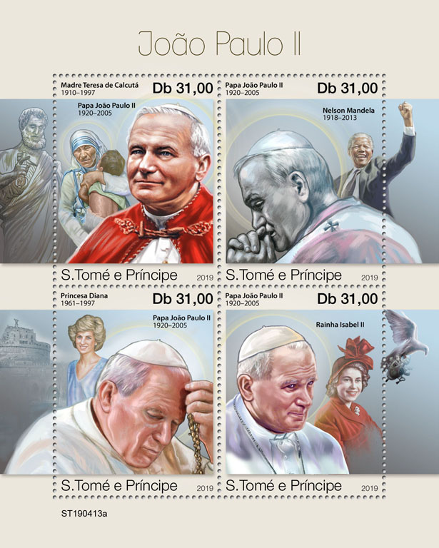 John Paul II - Issue of Sao Tome and Principe postage stamps