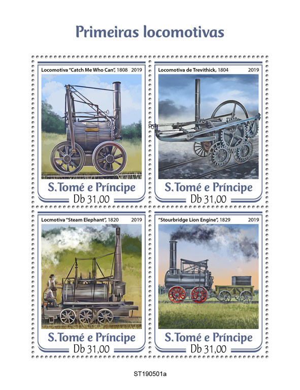 First trains - Issue of Sao Tome and Principe postage stamps