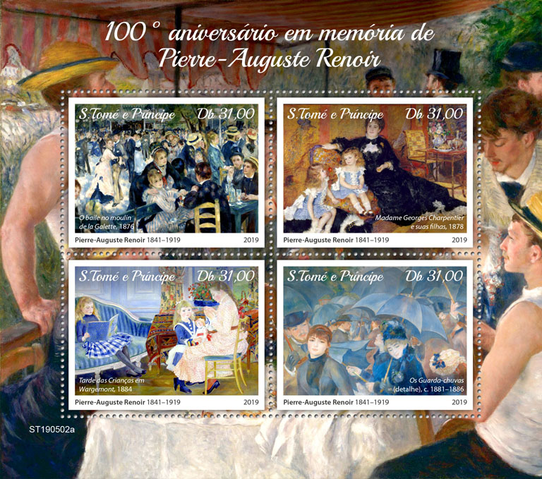 Pierre-Auguste Renoir - Issue of Sao Tome and Principe postage stamps