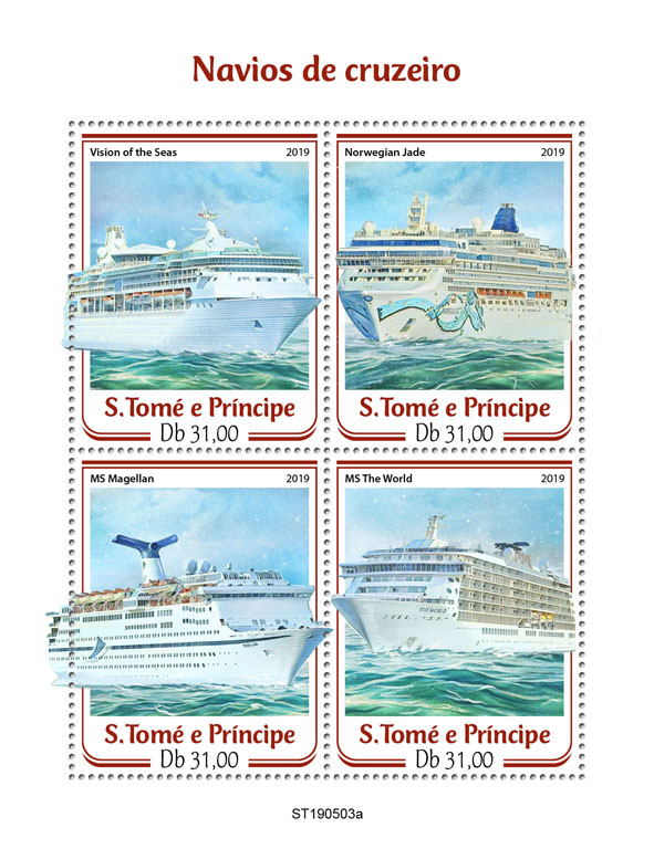 Cruise ships - Issue of Sao Tome and Principe postage stamps