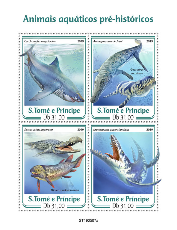 Prehistoric water animals - Issue of Sao Tome and Principe postage stamps