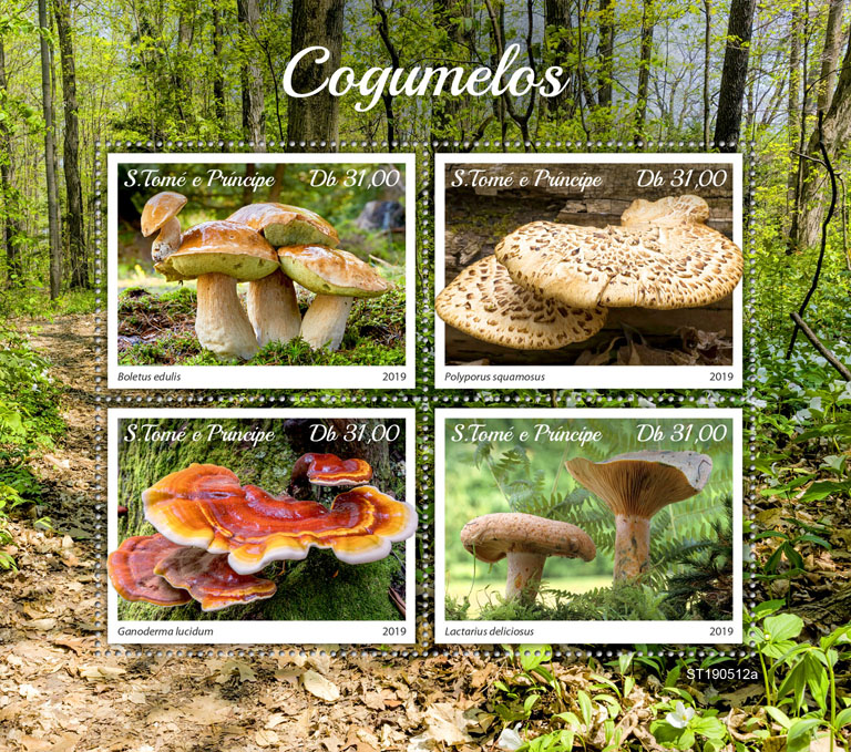 Mushrooms - Issue of Sao Tome and Principe postage stamps