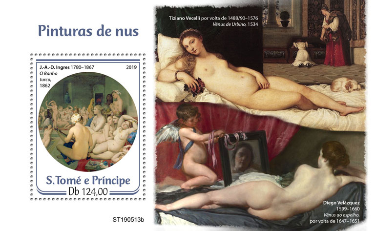 Nude paintings - Issue of Sao Tome and Principe postage stamps
