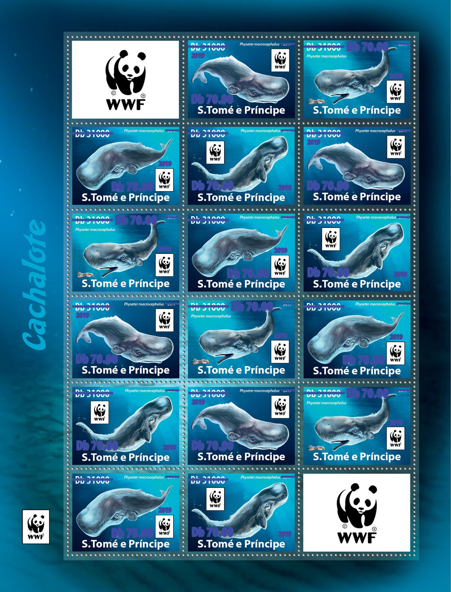 WWF overprint: birds 16v (dark blue foil) - Issue of Sao Tome and Principe postage stamps