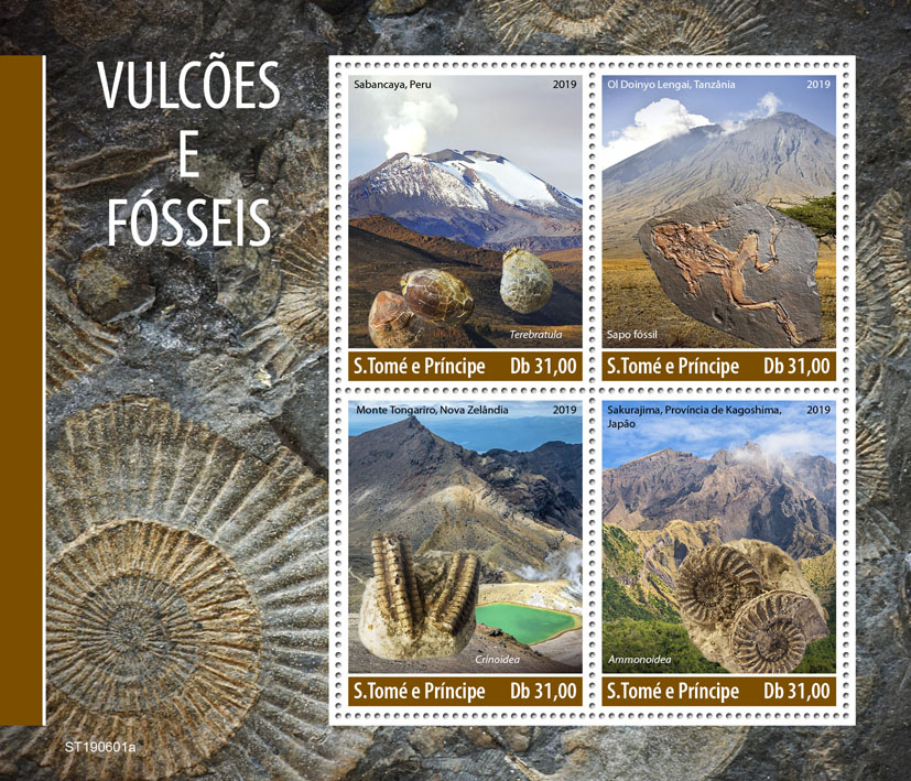 Volcanoes and fossils - Issue of Sao Tome and Principe postage stamps