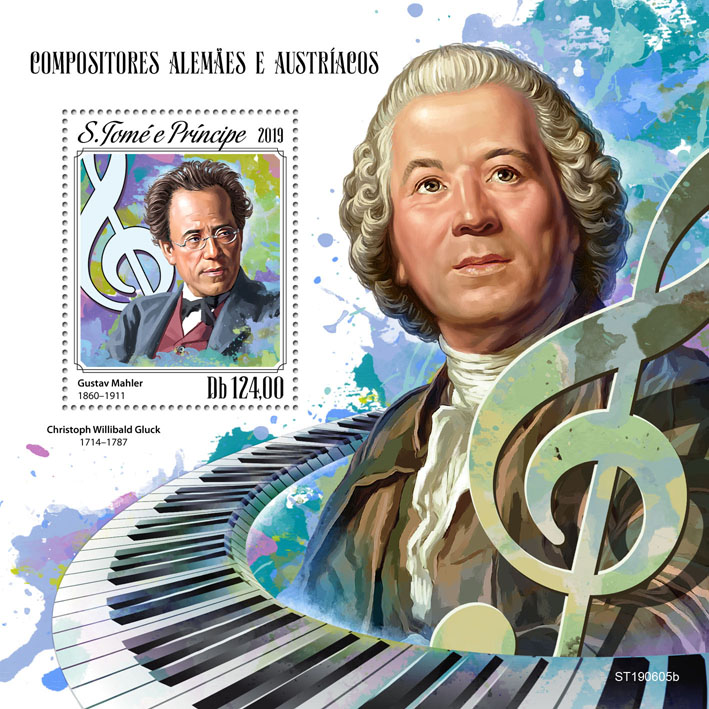German-Austrian composers - Issue of Sao Tome and Principe postage stamps