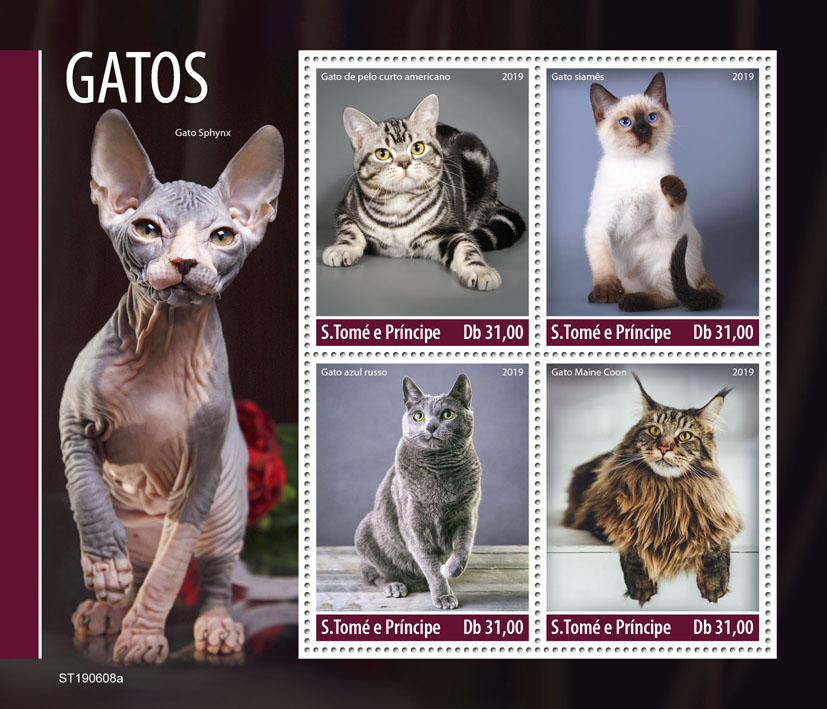 Cats - Issue of Sao Tome and Principe postage stamps