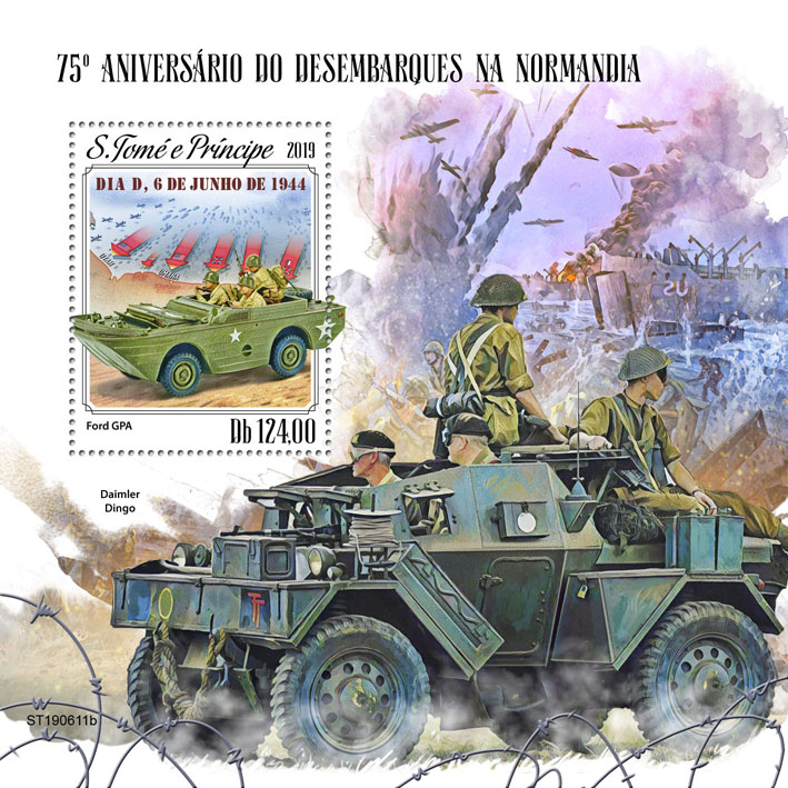 Normandy landings - Issue of Sao Tome and Principe postage stamps