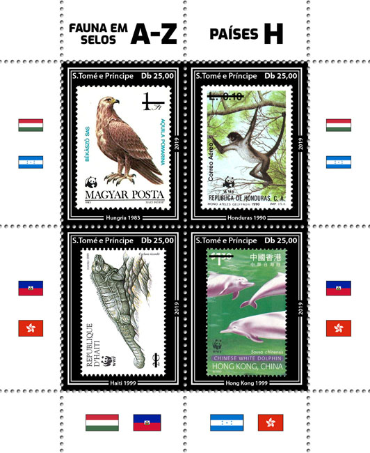Stamps on stamps WWF 4v - Issue of Sao Tome and Principe postage stamps