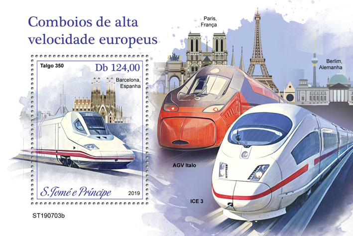 European Speed trains - Issue of Sao Tome and Principe postage stamps