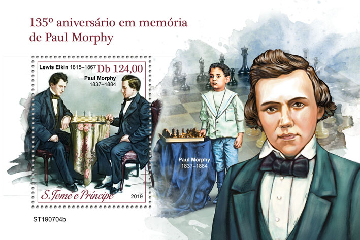 Paul Morphy - Issue of Sao Tome and Principe postage stamps
