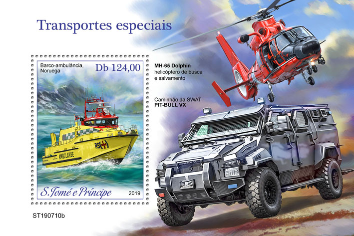 Special transport - Issue of Sao Tome and Principe postage stamps