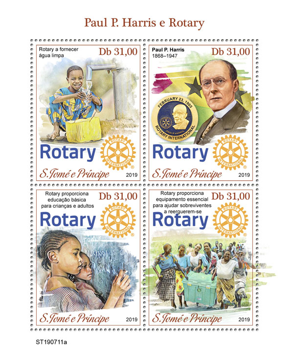 Paul P. Harris and Rotary - Issue of Sao Tome and Principe postage stamps