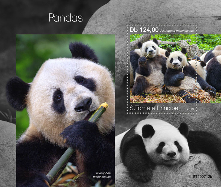 Pandas - Issue of Sao Tome and Principe postage stamps