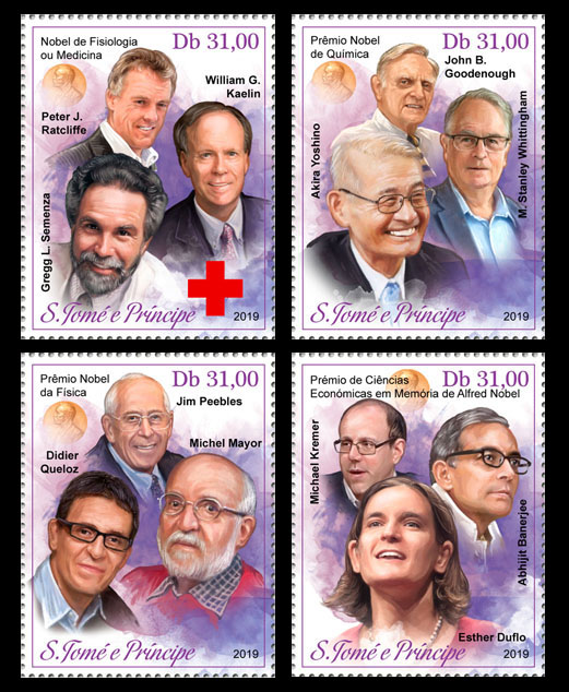 Nobel Prize winners 2019 - Issue of Sao Tome and Principe postage stamps
